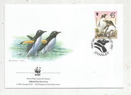 Lettre , 1 Er Jour,official First Day Cover , WWF , Falkland Islands , Stanley,2002, Gentoo Penguin - Falkland