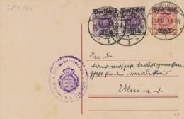 Deutsches Reich - 1921 - Würtemberg Dienstpostkarte + Extra Stamps Sent From Göppingen To Ulm - Postwaardestukken