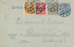 Deutsches Reich - 1921 - 2+3Pf +2+3Pf Postkarte + Extra Stamps Sent From Augsburg To Schweinfurt - Postwaardestukken