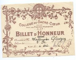 COLLEGE DU SACRE-COEUR ALEP - BILLET D'HONNEUR - Diplômes & Bulletins Scolaires