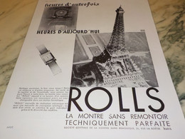 ANCIENNE PUBLICITE HEURES AUJOURD HUI  MONTRE ROLLS 1931 - Jewels & Clocks