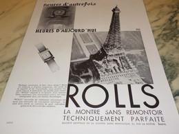 ANCIENNE PUBLICITE HEURES AUJOURD HUI  MONTRE ROLLS 1931 - Bijoux & Horlogerie