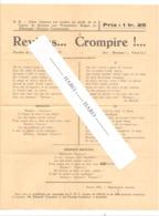 """AYWAILLE , Guerre 40/45 - Chanson """" Reviens...Crompire..."""" Vendue Au Profit Des Prisonniers Belges En 1941  (b243) - Partitions Musicales Anciennes"""