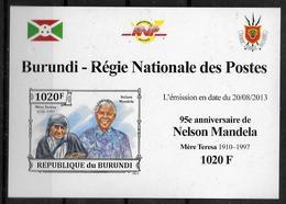 BURUNDI Epreuve Luxe N° 2138 * * NON DENTELE Nelson Mandela Mere Teresa - Mère Teresa