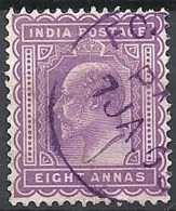 India, 1902 King Edward VII 8a Purple Wmk Star # S.G. 133 - Michel 63 - Scott 68  USED - India (...-1947)