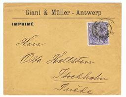 Zeer Mooi Document  Van Postzegelhandelaar GIANI & MULLER Antwerp Naar Zweden Stockholm - Werbung