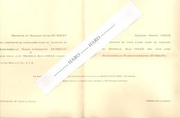 Faire-part De Mariage De J. Colle De COMBLAIN AU PONT Avec M-A Humblet D'AYWAILLE En 1938 (b243) - Wedding