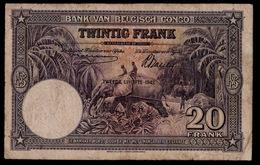 BANK VAN BELGISCH CONGO VINGT FRANCS 10_O3_42   2 SCANS - [ 5] Belgian Congo