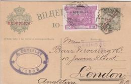 Portugal Entier Postal Pour La Grande Bretagne 1911 - Ganzsachen