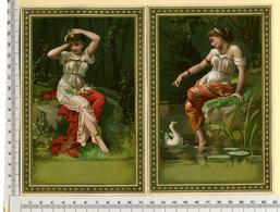 2 CHROMOS LITHOS CARTONNÉES.....GRAND FORMAT....H 17 Cm....JEUNES FEMMES VAPOREUSES - Vieux Papiers