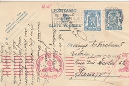 Belgique Entier Postal Censuré Pour La France 1942 - Enteros Postales