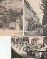 3 CPA:VICHY (03) HOMME AVEC PETITE CHARRETTE RUE CUNIN GRIDAINE,OUVRIÈRES PASTILLERIE ATELIER DE CARTONAGE,ETC...ÉCRITES - Vichy