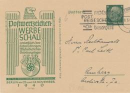 Deutsches Reich - 1940 - 6pf Privat Postkarte Postwertzeichen Werbeschau Berlin - Sent From Regensburg - Postwaardestukken