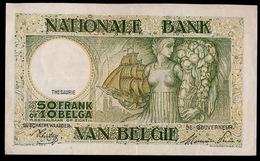 50 FRANCS 10 BELGAS  PRACHTSTAAT    2 SCANS - [ 2] 1831-... : Royaume De Belgique