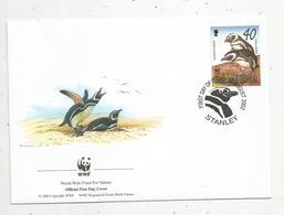 Lettre , 1 Er Jour,official First Day Cover , WWF , Falkland Islands , Stanley,2002, Magellanic Penguin - Falkland