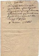 VP14.175 - Révolution Française - 1793 - Reçu / Document Concernant Le Régisseur De La Chartreuse De Mélan à TANINGES - Manuscripts