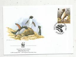 Lettre , 1 Er Jour,official First Day Cover , WWF , Falkland Islands , Stanley,2002, Rockhopper Penguin - Falkland