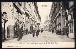 AREZZO (Italie) Belle Vue Animée Et éclairée Corso VE. Carte Oblitérée En 1907, Cachet Ambulant Firenze (Ferrovia) - Arezzo