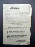 Volantino Cittadini! Savona Novembre 1917 Propaganda WW1 Assitenza Civile - Non Classificati
