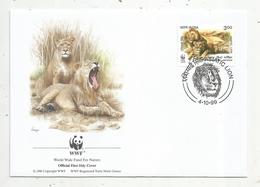 Lettre , 1 Er Jour,official First Day Cover , WWF , India, Inde, 1999, Asiatic Lion - FDC