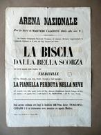 Locandina Arena Nazionale Modena La Biscia Nella Scorza Antonio Prosdocimi 1863 - Non Classificati
