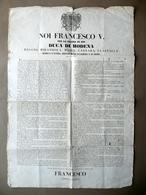Grida Francesco V Duca Di Modena Disposizioni Nuovi Territori Diritto Asilo 1851 - Non Classificati