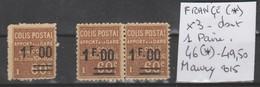 TIMBRES DE FRANÇE DE COLIS POSTAUX NEUF (*) Nr 46 (*) X 3 DONT UNE PAIRE    COTE 49.50 € - Parcel Post