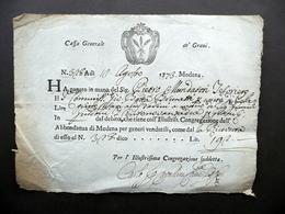 Cassa Generale De' Grani Modena Ricevuta Pagamento 12 Agosto 1773 Fregio - Non Classificati