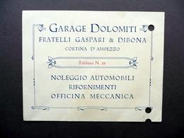 Cartoncino Garage Dolomiti Fratelli Gaspari Dibona Cortina D'Ampezzo Primo '900 - Non Classificati