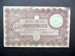 Banfi Sapone Milano 500 Casse Finta Banconota Pubblicità 1926 - Non Classificati