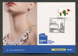 ITALIA FDC CARTOLINA POSTALE 2011 - ROMAFIL 2011- SALONE INTERNAZIONALE DEL FRANCOBOLLO - 140 - Maximumkarten (MC)