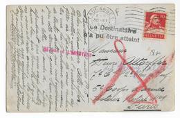 1915 - CARTE De LAUSANNE (SUISSE) => 82° RI à PARIS Avec RETOUR à L'ENVOYEUR - Guerre De 1914-18