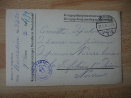 Lot 2 Modele Different Mannheim Camp De Prisonniers Guerre 14.18 Kriegsgefangenenlager Censure Allemande - Marcophilie (Lettres)
