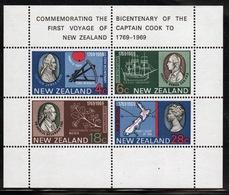 New Zealand 1969 Bi-centenary Of The Landing Of Captain Cook Mini Sheet. - Blocks & Sheetlets