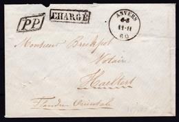 Lettre CHARGE D Anvers Vers Haeltert Du 11 11 1860 Marque PP Encadré  ( Lsc ) - 1858-1862 Médaillons (9/12)