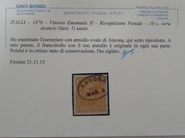 ITALIA – 1878 – Vittorio Emanuele II – Ricognizione Postale – 10c. Ocra Arancio (Sass. 1) Usato. - Usati