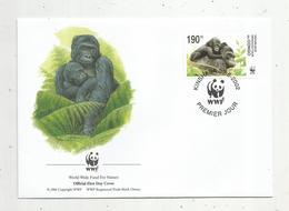 Lettre , 1 Er Jour,official First Day Cover , WWF , République Démocratique Du Congo, 2002 , Singe - République Démocratique Du Congo (1997 -...)