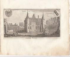 Originele Kopergravure Kasteel Van Ramey GESTEL Berlaar Antwerpen  J.Le Roy Gegraveerd Door F. Ertinger 18de Eeuw (J92) - Documents Historiques