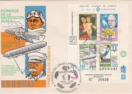 URUGUAY FDC: PIONEROS DE LA NAVEGACION AEREA AVEC BLOCK STAMP. OBLITERE CAMPEONATO MUNDIAL DE FUTBOL 1978 - BLEUP - Airships