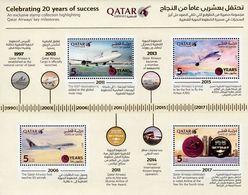 Qatar - 2017 - Qatar Airways - Celebrating 20 Years Of Success - Mint Souvenir Sheet With Gold Hot Foil Intaglio Imprint - Qatar