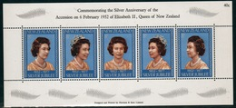 New Zealand 1977 Silver Jubilee Sheetlet Containing A Strip Of Five Stamps. - Blocks & Sheetlets