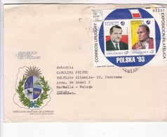 URUGUAY FDC: REICH WALESA JUAN PABLO STAMP BLOCK N°03106. CIRCULEE  A ESPAÑA 1993 RARE - BLEUP - Popes