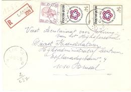 Belgique 1977 - Lettre Recommandée De LANDEN - Brabant Flamand - Cob 1584/1797A X 2 - Belgique