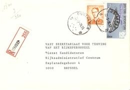 Belgique 1976 - Lettre Recommandée De OOSTAKKER - Flandre Orientale - Cob 1074(Baudouin Lunettes Orange)/1675 - Belgique