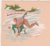 Menu Années 20 / Non Utilisé / Illustration Sport Glace, Patinage (artistique ?) - Menus