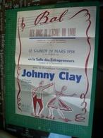 Bal école Du Livre. 29 Mars 1958. Avec Johnny Clay. Belle Affiche Illustrée. Liege - Affiches