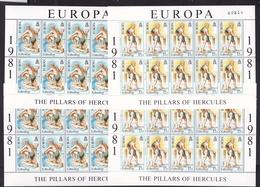 1981 Gibilterra Gibraltar EUROPA CEPT EUROPE 20 Serie Di 2v. MNH** In 4 Minifogli 4 Minisheets - 1981