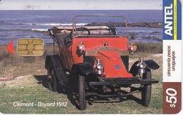 Nº 352 TARJETA DE URUGUAY DE UN COCHE DE EPOCA (CAR) CLEMENT-BAYARD 1912 - Uruguay