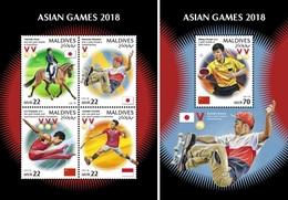 Maldive 2018, Asian Games, Skateboard, 4val In BF +BF - Skateboard