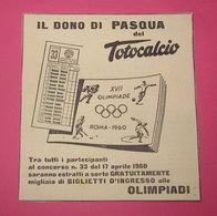 TOTOCALCIO 1958 PUBBLICITA' ORIGINALE DA RIVISTA D'EPOCA VINTAGE - Pubblicitari